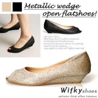 Buy Wifky Open-Toe Metallic Wedge Pumps 1022753785