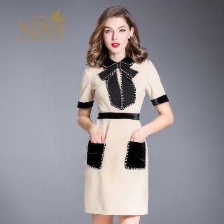 Short-Sleeve Bow-Accent Beaded Dress 1063986865