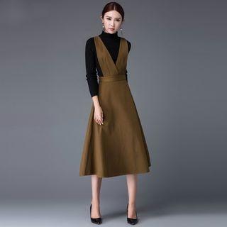 Plain Pinafore Midi Dress 1061529142