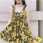 Lace Up Floral Print Sleeveless Dress 1596