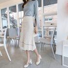 Set: Boat-Neck Slit-Sleeve Knit Top + Rib-Knit Skirt 1596