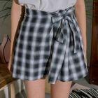 Tie-Waist Plaid Mini Skirt 1596