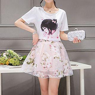 set-printed-short-sleeve-t-shirt-skirt