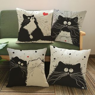 Image of Cat Print Sofa Cushion Cover