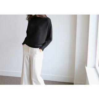 Boat-Neck Ribbed Knit Top 1054966621