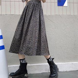 Image of Band-Waist Leopard Print Midi A-Line Skirt