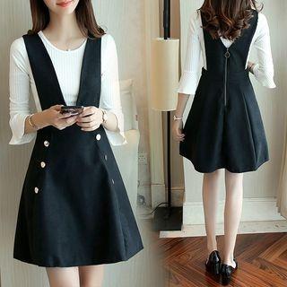 Set: Bell-Sleeve Knit Top + A-Line Pinafore Dress 1063805047