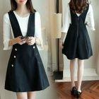 Set: Bell-Sleeve Knit Top + A-Line Pinafore Dress 1596