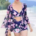 Set: Floral Print Bikini + Beach Cover-Up 1596