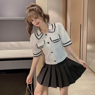Image of Elbow-Sleeve Contrast Trim Blouse / Pleated A-Line Mini Skirt / Set