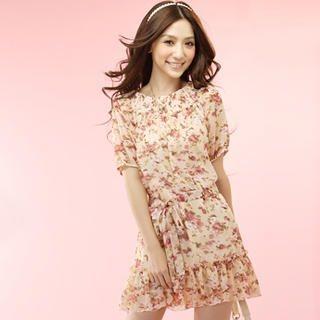 Buy Tokyo Fashion Short-Sleeve Floral Chiffon Dress 1022963829