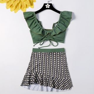 Set: Ruffle-Trim Swim Top + Swim Bottom + Print Swim Skirt
