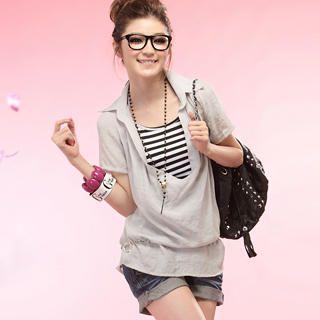 Buy Tokyo Fashion Set: Short-Sleeve Drape-Front Top + Striped Halter Top 1022963879