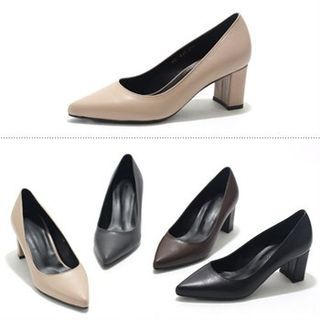 Image of Genuine Leather Chunky-Heel Pumps