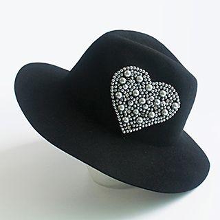 Embellished Heart Woolen Fedora Hat