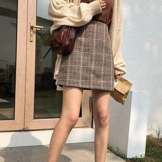 Image of Plaid High-Waist Mini A-Line Skirt