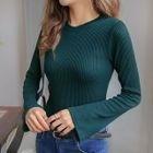 Ribbed Slim-Fit Bell-Sleeve Top 1596