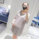 Maternity Short-Sleeve Pleated Dress 1596