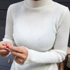 Mock-Neck Ribbed Knit Top 1596