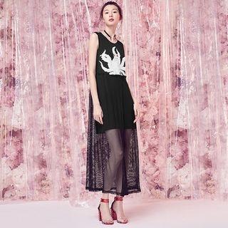 Applique Sleeveless A-Line Maxi Dress 1061192230