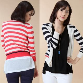 Buy STELLARY 3/4 Sleeve Striped Knit Cardigan 1023015072