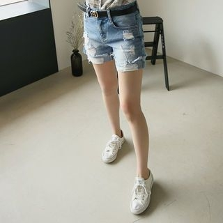 Distressed Washed Denim Shorts 1058609169