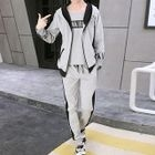 Set: Printed Short-Sleeve T-Shirt + Hooded Zip Jacket + Drawstring Sweatpants 1596