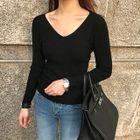 V-Neck Ribbed Slim-Fit Knit Top 1596