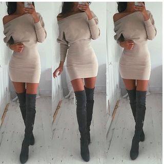 Off-Shoulder Dolman-Sleeve Bodycon Dress 1055706057