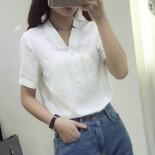 Short-Sleeve V-Neck Blouse 1060785466