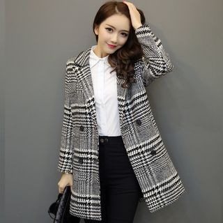 Houndstooth Double Breasted Long Coat 1055540370
