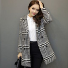 Houndstooth Double Breasted Long Coat 1596
