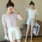 Set: Embroidered Short-Sleeve Top + Plain Shorts 1596