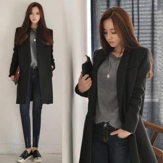 Notched-Lapel Wool Blend Coat