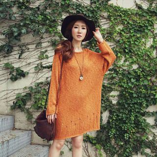 Raglan-Sleeve Oversized Knit Dress