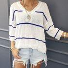 Drop-Shoulder Striped Knit Top 1596