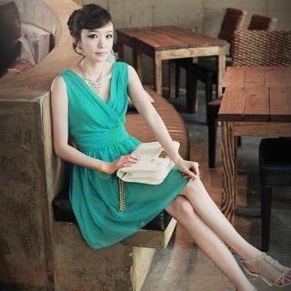 Buy AKA Sleeveless Wrap Detail Shirred Chiffon Dress 1022859883