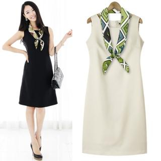 Buy Black Queen Set: Sleeveless Sheath Dress + Scarf 1023051615