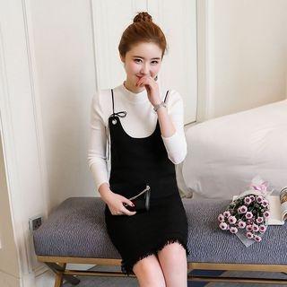 Set: Mock-Neck Long-Sleeve Knit Top + Knit Pinafore Dress 1062796668