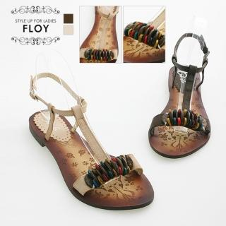 Buy FLOY SHOES Bead-Accent T-Strap Sandals 1023054367