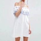 SHort-Sleeve Off-Shoulder Embroidery Dress 1596