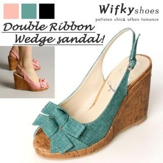 Buy Wifky Bow Accent Wedge Slingbacks 1022547509