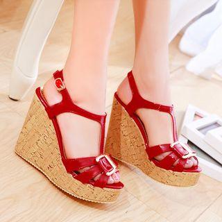 Image of Buckled Patent Platform Wedge Sandals