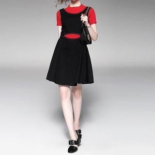 Set: Short Sleeve Knit Top + A-line Pinafore Dress 1053139924
