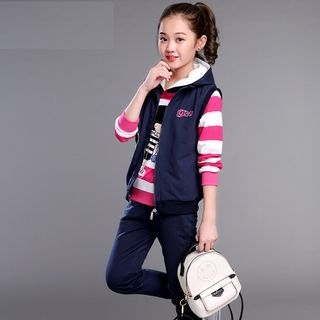 Kids Set: Vest + Stripe Long-Sleeve Hoodie + Sweatpants 1062295784