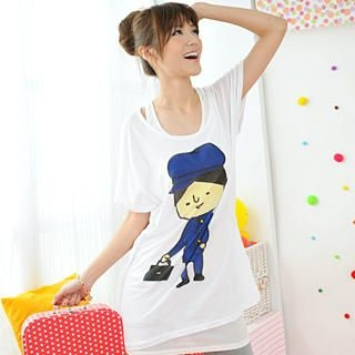Buy 59 Seconds Short-Sleeve Printed Long Tee White – One Size 1022465640