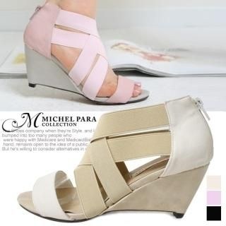 Picture of MICHEL PARA COLLECTION Banded Strap Wedge Sandals 1022550057 (Sandals, MICHEL PARA COLLECTION Shoes, Korea Shoes, Womens Shoes, Womens Sandals)