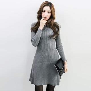 Crew-Neck Ribbed Bodycon Knit Dress 1056200281