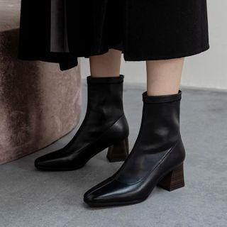 Block-heel Pointy Short Boots