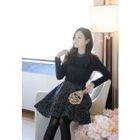 Inset Cable-Knit Sweater Floral Print Dress 1596